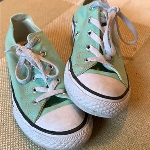 Converse size 3 mint green sneakers